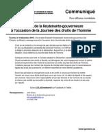 Message de la lieutenante-gouverneure à l'occasion de la Journée des droits de l'homme