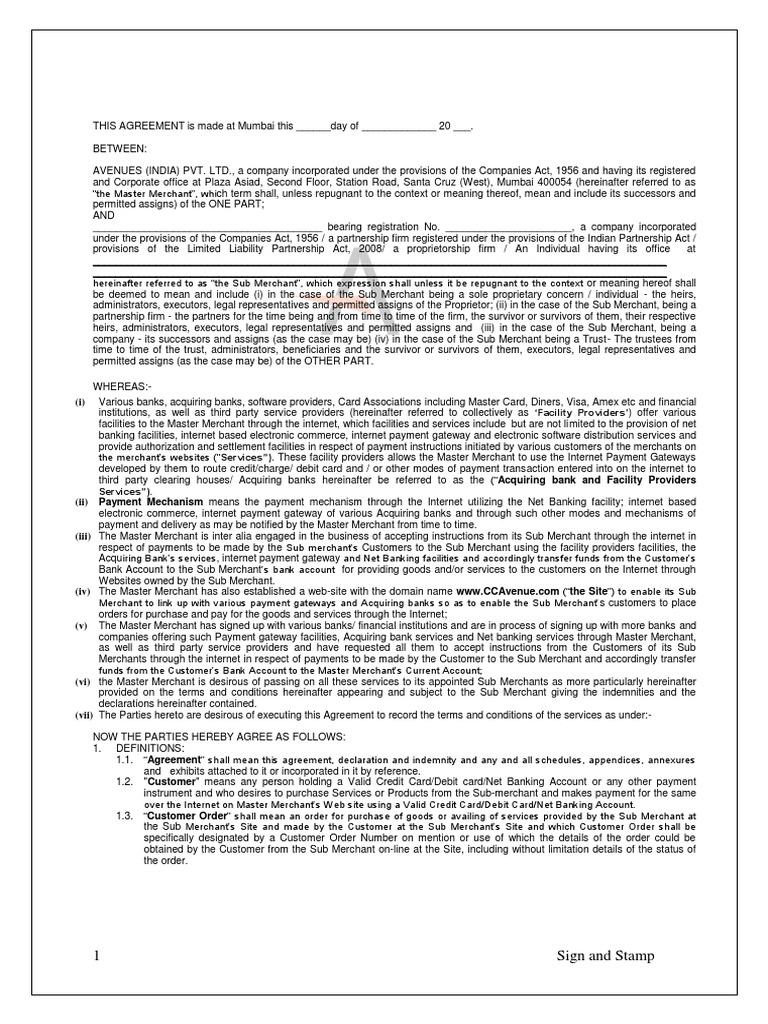 Sub Merchant Agreement Payments Financial Transaction