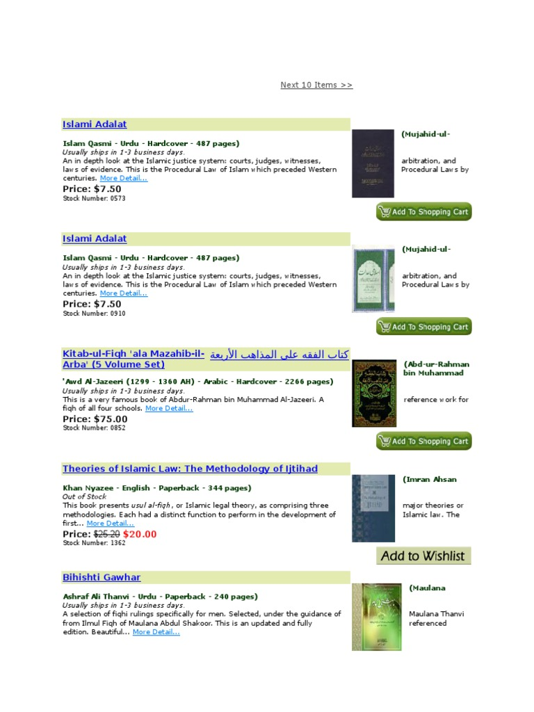 Fiqh Books List | Islam And Politics | Sharia