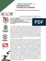 Comunicado de La UNT Chiapas 010410