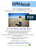 Kindergarten & ECDP Open House Poster 2010