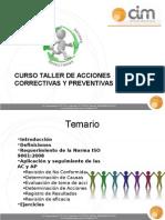 Curso Taller de Acciones Correctivas y Preventivas