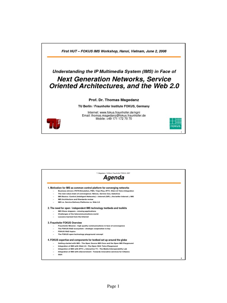 Next Generation Networks, Service Oriented Architectures