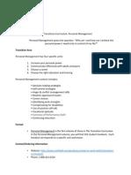 personal management curriculum