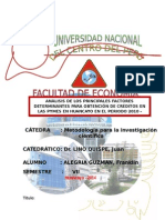 Análisis de Los Principales Factores Determinantes Para La Obtención de Crédito en La Pymes en Huancayo Desde 2000 Al 2014