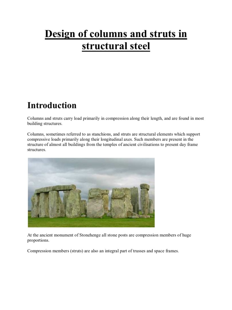 Design of columns and struts in structural steel