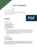 recipes and menu