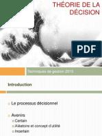 0224 Techniques de Gestion Supports de Cours 1 Theorie de La Decision