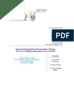 International Organization of Francophonie Press Release