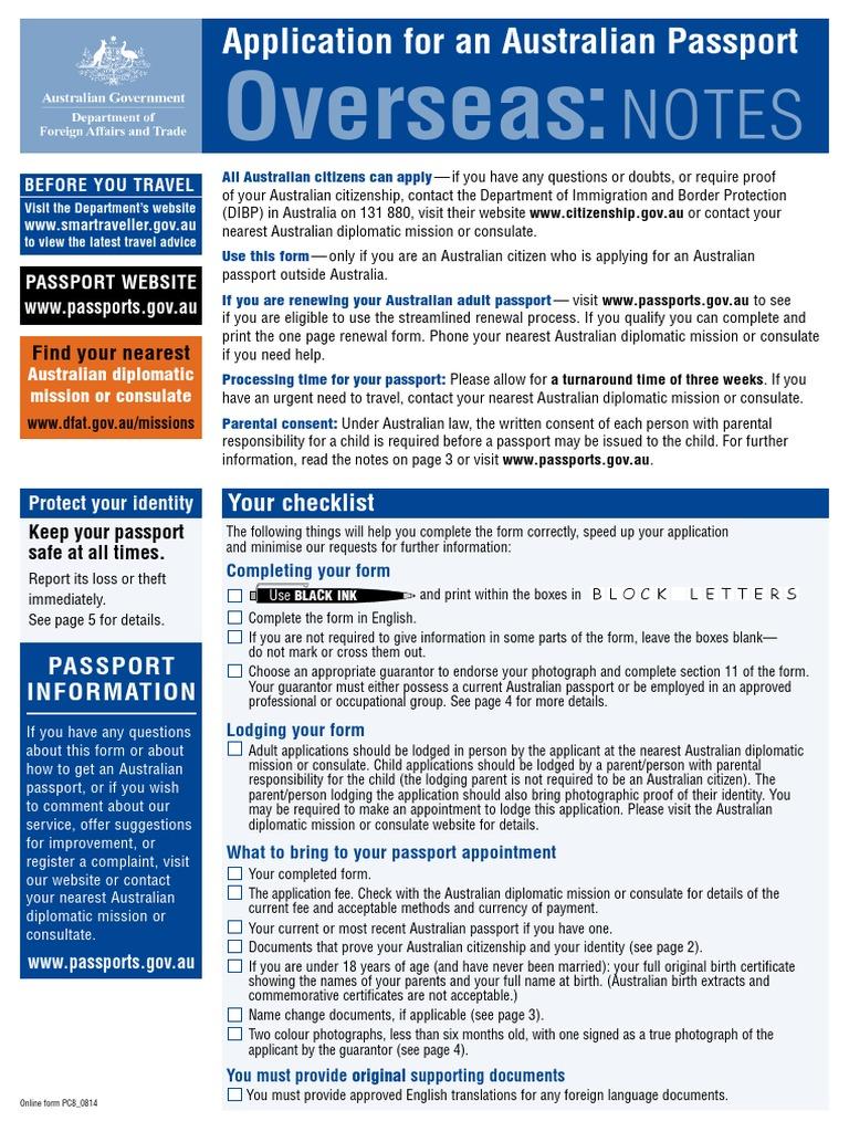 Australian Passport Form Birth Certificate Identity Document