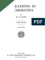 Recreations in Mathematics Licks Edited