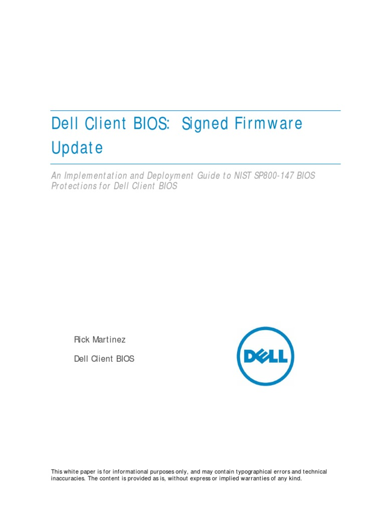 Dell Signed Firmware Update (NIST 800-147) | Bios | Computer Security