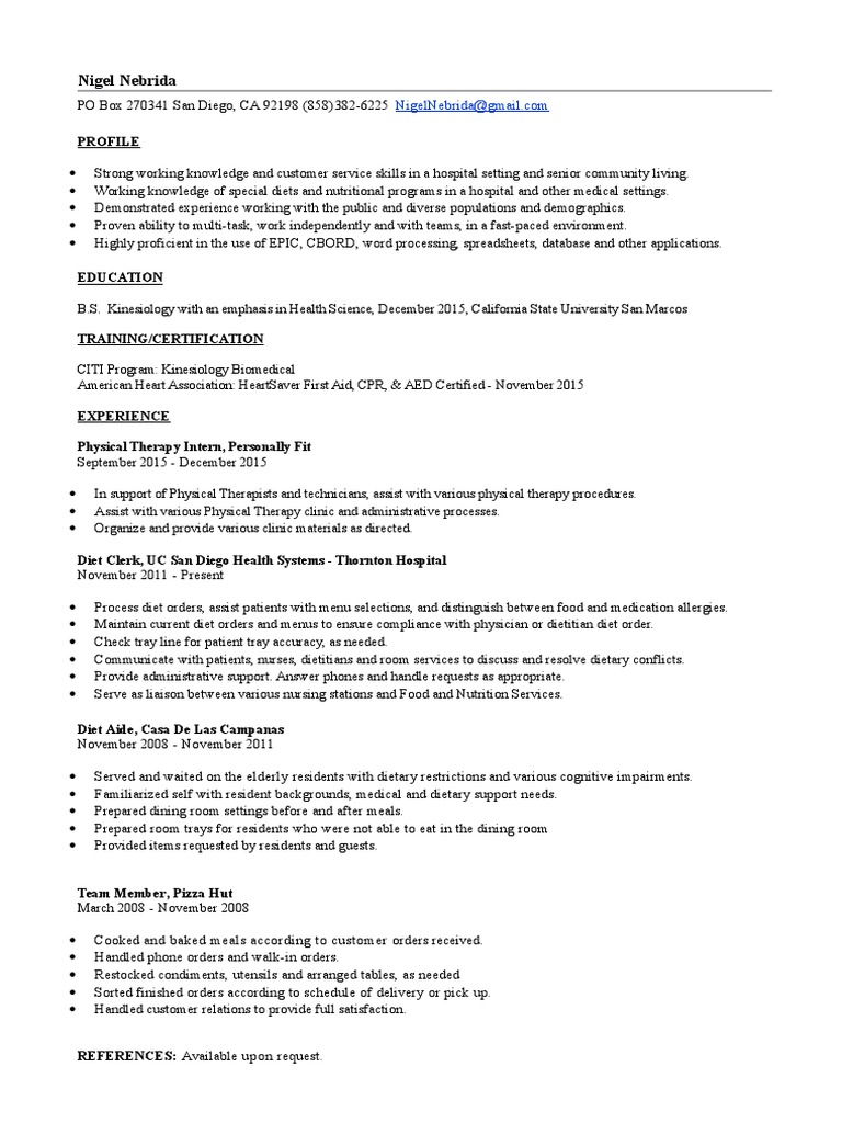 Updated resume dietitian physical therapy 1betcityfo Images