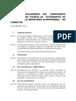 Bases y Reglamento Del Campeonato Relampago de Fulbito de Estudiantes de Ingenieria en Industrias Alimentarias