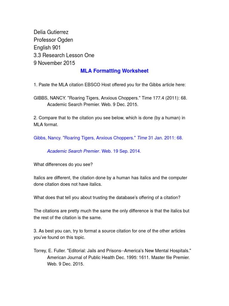 Worksheets Mla Citation Worksheets 3 assignment worksheet bias citation