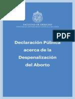 Declaración Pública Acerca de La Despenalización Del Aborto