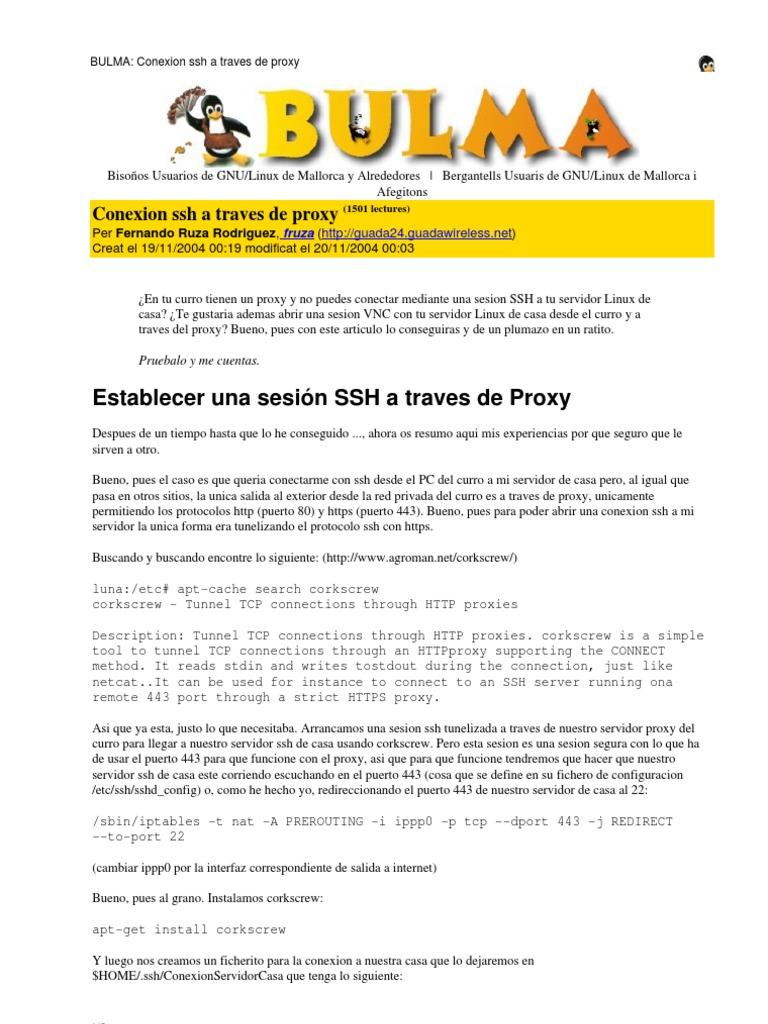 Conexion ssh a traves de proxy