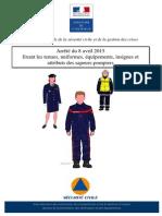 Arrêté Fixant Les Tenues, Uniformes, Équipements, Insignes Et Attributs Des SP Du 8 Avril 2015