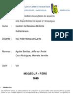 Plan de Gestion de Acuiferos de Acuerdo a La Disponibilidad de Agua en Moquegua