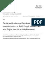Partial purification and functional characterization of Ts19 Frag-I, a novel toxin from Tityus serrulatus scorpion venom