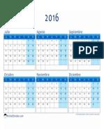 Calendario 2016 2o Semestre