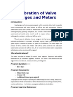 Calibration of Valve Gauges and Meters