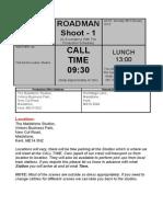 Example Call Sheet