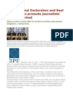 'International Declaration and Best Practices' to Promote Journalists' Safety Launched