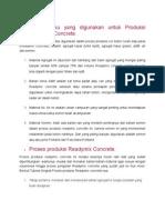 Bahan Baku Yang Digunakan Untuk Produksi Readymix Concrete
