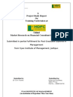 Market Research on Financial Consultant for HDFCSL