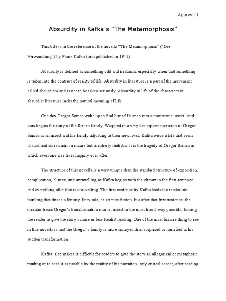 hamlets metamorphosis essay And what would be a good introduction for an essay.