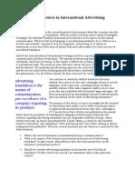 Translation Practices in International Advertising