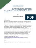 Sports Law Essay 1 - 2015