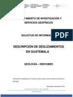 Descripcion de Deslizamientos en Guatemala