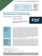 Appendicectomie Quelle Technique