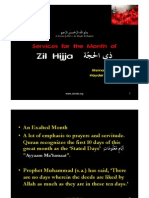 Services for the month of Zul Hijja