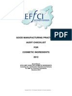 Good Manufacturing Practices Audit -Check List 2012