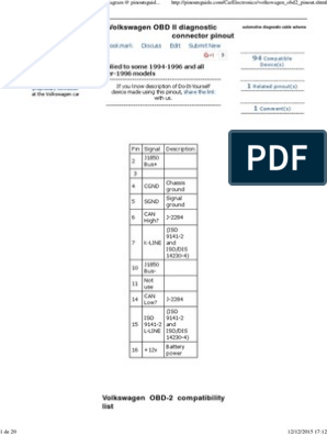 Volkswagen OBD II Diagnostic Connector Pinout Diagram | Volkswagen
