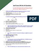 Final Exam (5th Set) 40 Questions