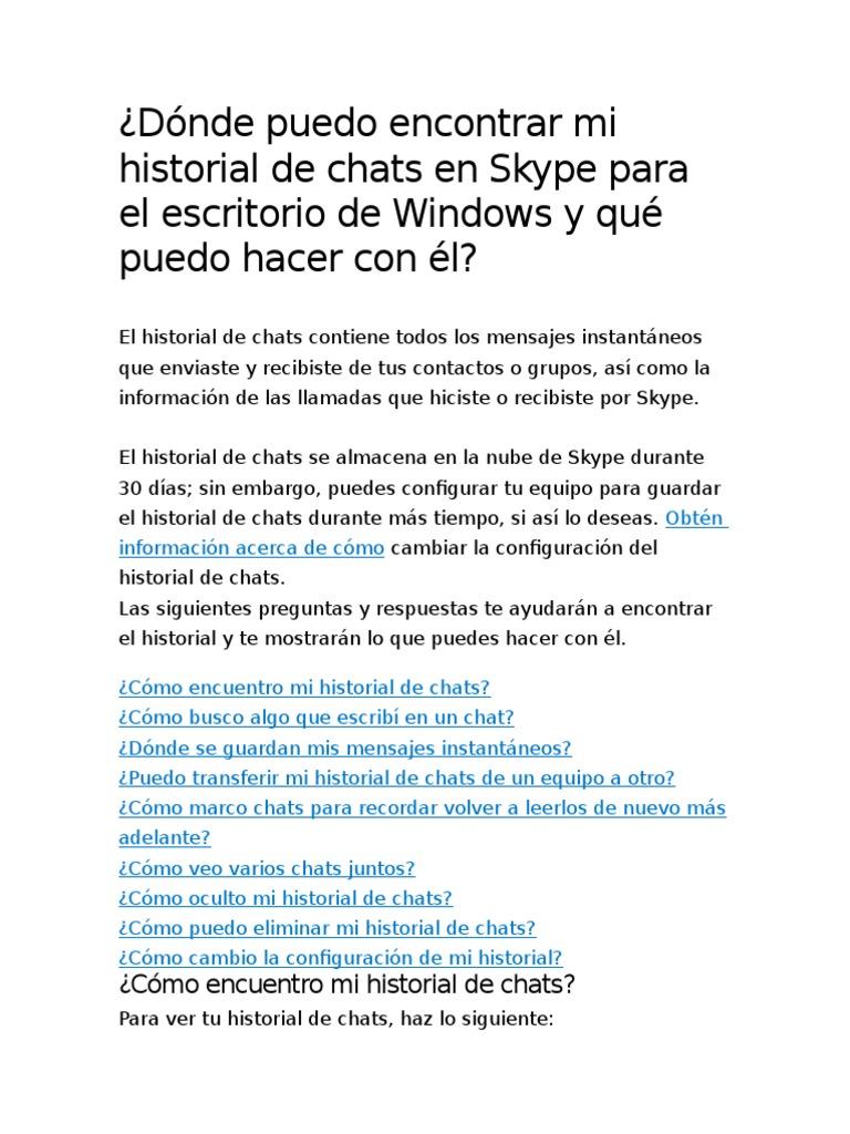 Dónde Puedo Encontrar Mi Historial de Chats en Skype Para El ...