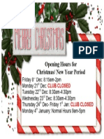 Opening hours over Christmas Break