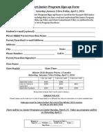 Junior Quickstart Program Signup Form Winter 2016