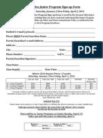 Junior Competitive Program Signup Form Winter 2016