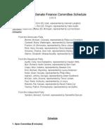 model senate finance committee schedule