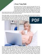Penulisan Contoh Essay Yang Baik