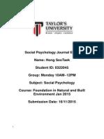 social psychology journal entry