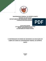 A CONTRIBUIÇÃO DO ENSINO DE GEOGRAFIA NA EDUCAÇÃO DO CAMPO DO CURSO DA UNIVERSIDADE FEDERAL DO ESPÍRITO SANTO