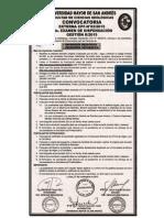 Convocatoria a la Prueba de Suficiencia Académica Facultad de Ciencias Geológicas UMSA 2016