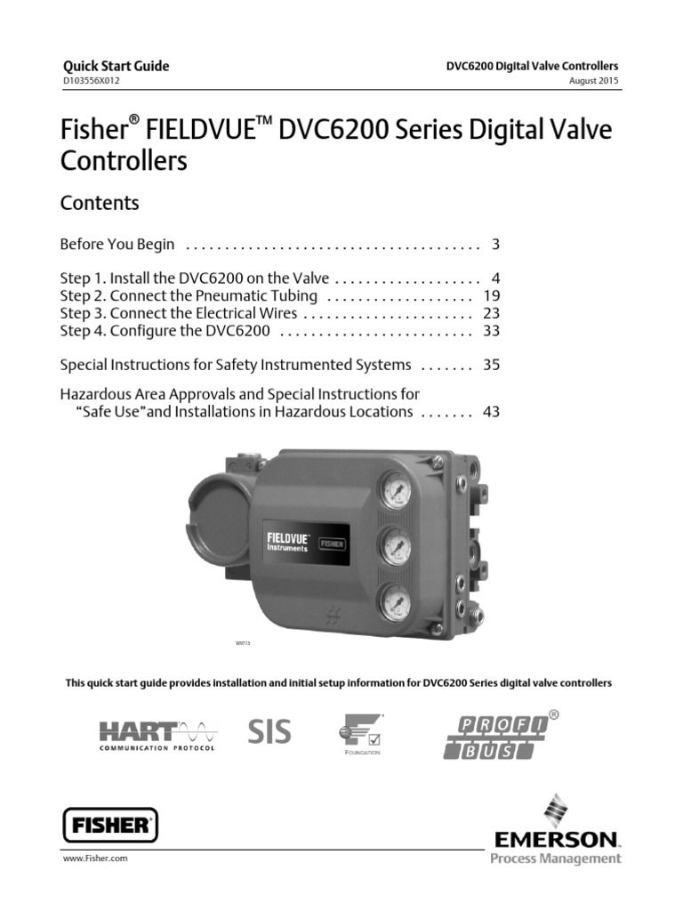 Fisher FIELDVUE DVC6200 Series Digital Valve Controllers pdf | Valve
