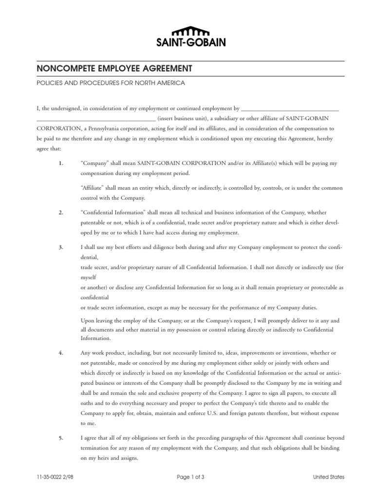 Employee agreement noncompete trade secret employment platinumwayz
